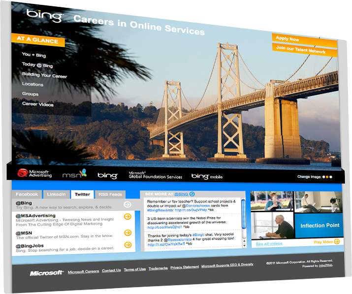 Bing website screenshot: homepage social content