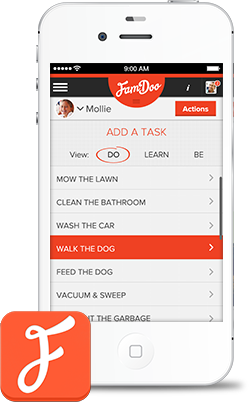 "FamDoo iPhone ""add a task"" screen"